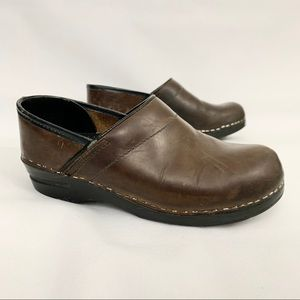 Dansko Brown Leather Slip On Work Nursing Clogs